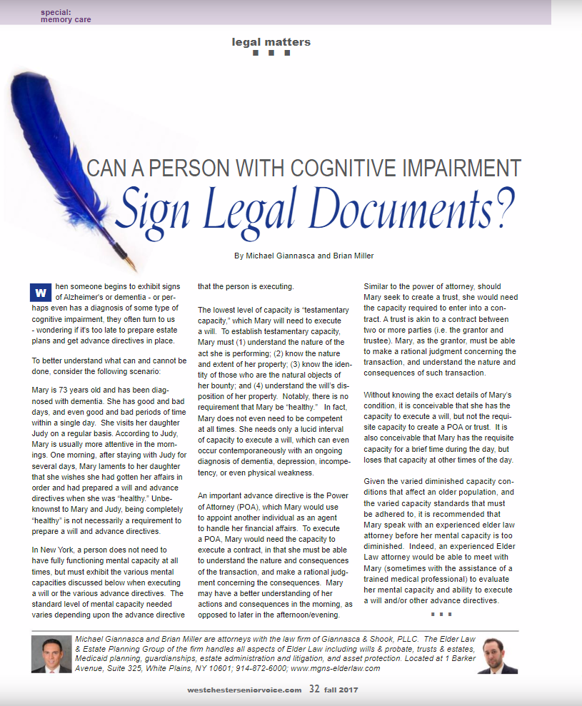 can a person with cognitive impairment sign legal documents